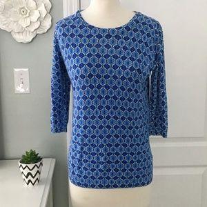 Light Weight Spring Sweater Blue Geometric Pattern